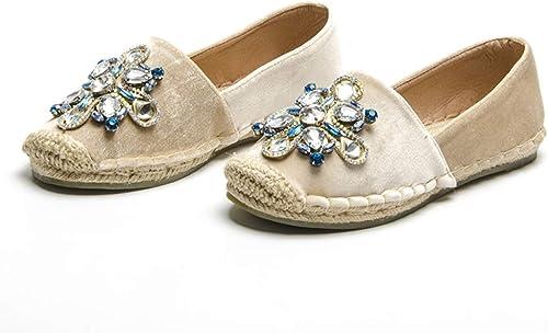 Zapatos de mujer con Diamantes de imitación, zapatos rojoondos en Punta holgazán en Mocasines Retro Transpirables de Cristal