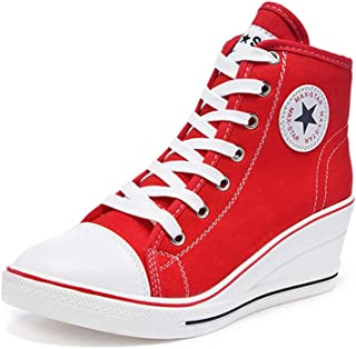 Sokaly Women's Sneaker High-Heeled Canvas Shoes High-Top Pump Lace UP Wedges Side Zipper Shoes Fashion Sneakers