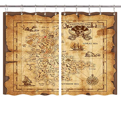 NYMB Nautical Island Map Kitchen Curtains, Vintage Old Map Pirate Ship on Ocean Window Drapes 2 Panel Set for Kitchen Decorations, Window Treatment Sets with Hooks, 55X39in