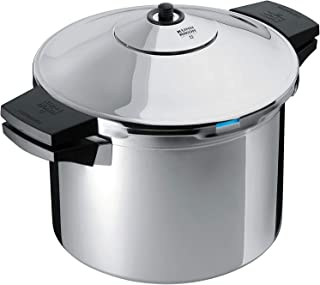 "Kuhn Rikon DUROMATIC Pressure Cooker 8.75"" 6.3 qt family of 4 with side handles to save space"