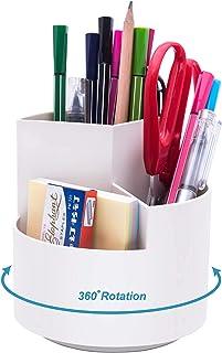 Retec 360 degree rotating pen holder, 3 separate layer desktop organizer, stationery storage bags, home office art supplie...