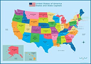 USA States and State Capitals Map - A3 (30cm x 42cm) Childrens Wall Chart Educational Kids Childs Poster Art Print WallChart