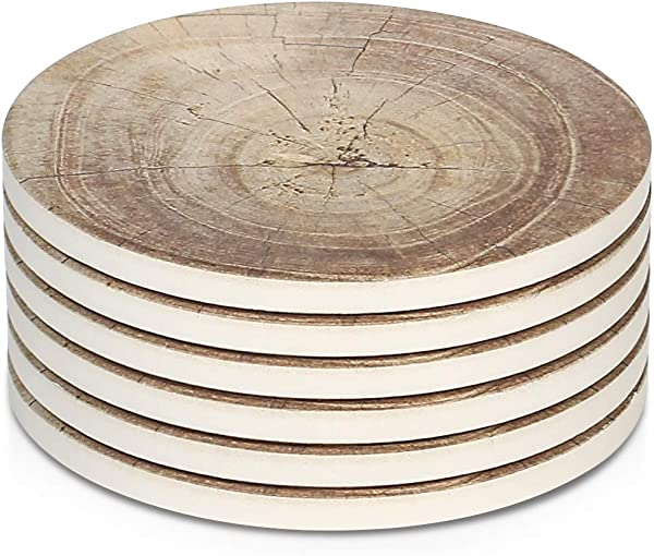 LIFVER 6 Pieces Ceramic Drink Coasters Absorbent Stone Coaster Set Timber Texture Pattern