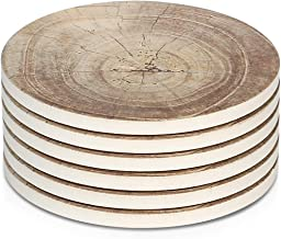 LIFVER 6 Pieces Ceramic Drink Coasters, Absorbent Stone Coaster Set, Timber Texture Pattern