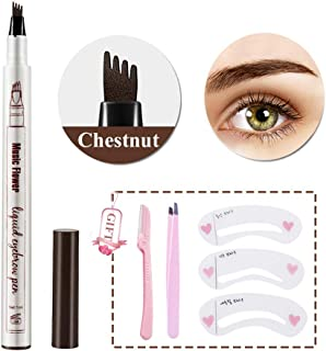 Eyebrow Tattoo Pen- Waterproof Microblading Eyebrow Pencil with a Micro-Fork Tip Applicator Creates Natural Looking Brows Effortlessly (01#Chestnut)