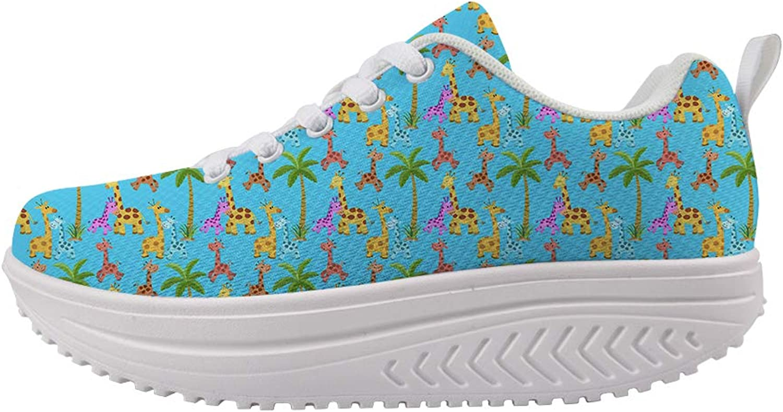 Owaheson Swing Platform Toning Fitness Casual Walking shoes Wedge Sneaker Women Palm Tree colorful Happy Giraffe