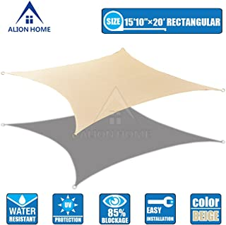 Alion Home 16x20 FT HDPE 180 GSM Sun Shade Sail - Beige Size: (16 x 20 ft) Rectangle