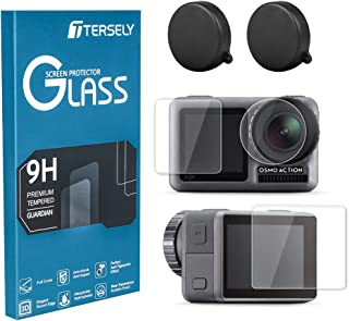 TERSELY Screen Protector & Camera Lens Cover Cap for DJI Osmo Action, Premium 9H Hardness Tempered Glass Screen Lens Prote...