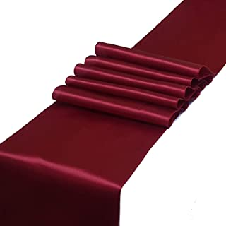 Parfair Dessin Satin Table Runners 12 x 108 inch for Wedding Banquet Decoration, Bright Silk and Smooth Fabric Party Table Runner - Maroon