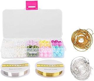 Anel de plástico DIY Anel de artesanato, Artesanato Faux Pearl, Resina para fazer joias com caixa de plástico Faux Pearl D...