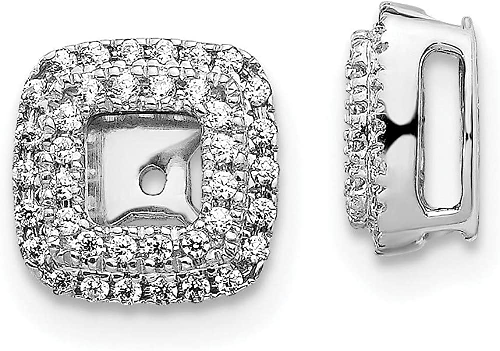 14k White Gold Diamond Square Ear Jacket Jackets For Studs Fine Jewelry For Women Gifts For Her