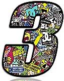 Biomar Labs Número 3 DC Bomb Calavera Vinilo Adhesivo Pegatina Coche Auto Motocross Moto Sport Start Racing Tuning N 203