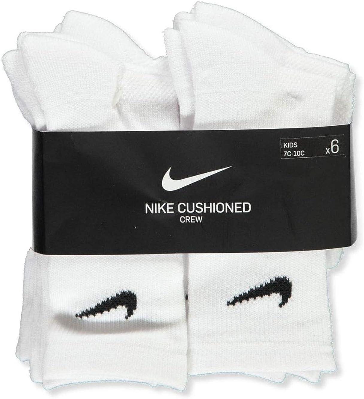 Nike 6 Pairs Young Athletes Crew Cushioned Socks; White (4-5)