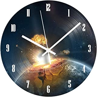 GYJCD Planet Explosion Vinyl Record Clock Número Árabe Reloj De Pared Digital Silencioso Moderno para Sala De Estar Decora...