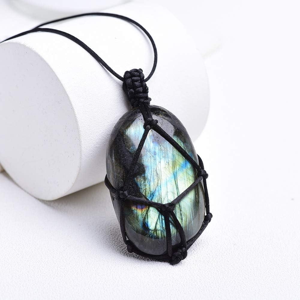 TWEITIE 1pc Natural Crystal Original Mesh Ne Pendant discount Superlatite Woven Stone