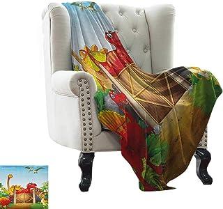 BelleAckerman Blankets Fleece Blanket Throw Kids,Cartoon Style Cute Dinosaurs in a Dino Park Jungle Trees Wildlife Habitat Illustration, Multicolor Cozy, Easy to Carry Blanket 30