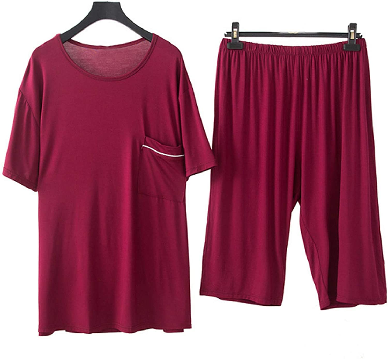 Men'S Pajamas Set Short Sleeve Pajama Sleepwear Wine Red 6Xl