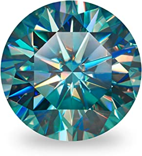 GIGAJEWE Moissanite Stone Synthetic Diamond Loose Stone Round Excellent Cut Gemstones Hardness Stone for Cyan Blue VVS1 Cl...