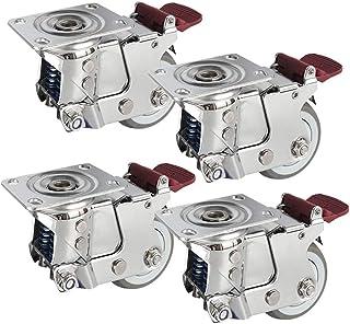4Xスイベルキャスター、3/4/5インチゲートスプリング衝撃吸収キャスター、缶ブレーキ、4輪荷重300KG、重機用、カート、棚板、荒地用/C / 75mm