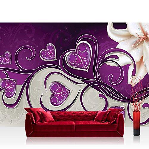 Vlies Fototapete 312x219cm PREMIUM PLUS Wand Foto Tapete Wand Bild Vliestapete - Orchideen Tapete Herzen Blume Blüten Orchidee lila - no. 1566