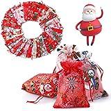 Herefun 33 pezzi Bolsas con Cordón Cuerda Bolsa de Dulces Navidad Calendario Adviento Navidad DIY Bolsa de Regalo Pegatinas Digitales Saquitos de Tela de Regalo, para Ggraduación Cumpleaños Fiestas