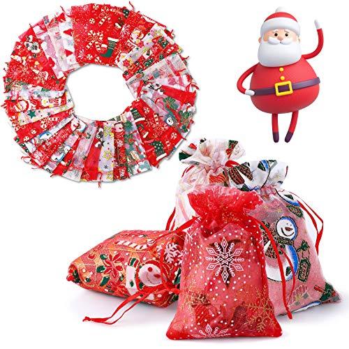 Herefun Organzabeutel Bonbons Beutel Organzasäckchen Candy Bags für Hochzeitsgeschenk, mit Drawstring Organza Tasche Schmucksäckchen Beutel Geschenk Kinder Partytüten Weihnachten Geschenktaschen