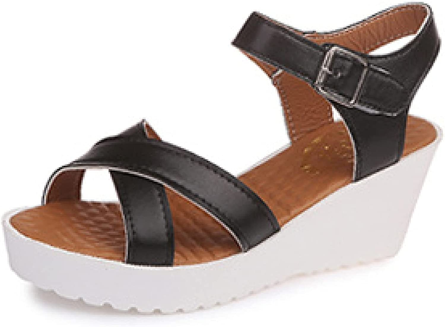Woman Casual Vintage Elegant Cross Tape PU Leather Adjustable Ankle Strap Platform Wedge Sandal for Daily Wearing
