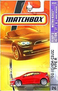 Mattel Matchbox 2007 MBX Metro Rides 1:64 Scale Die Cast Metal Car # 26 - Red Color 3 Door Hatchback 2008 Honda Civic Type R