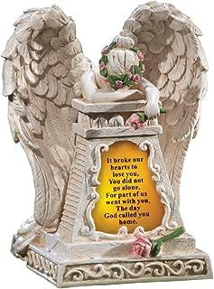OKSLO Solar Lighted Stone-Finished Weeping Angel Garden Memorial, Beige