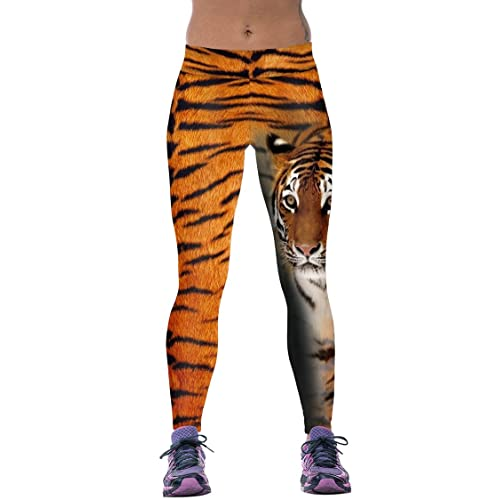 59fc00da9 Timemory Womens Vivid Tiger Patterned Active Traning Slim Tights One Size