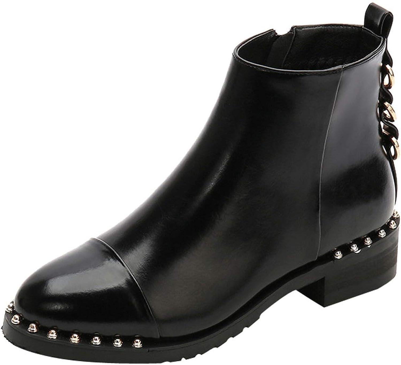 Meet- fashion Rivet Flat Ankle Boot Soft Leather Women Boots Double Zip Short Spring Autumn Boots Plus Size shoes
