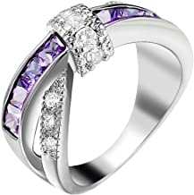 AONEW X Criss Cross Infinity Ring for Women Promise Wedding Band Princess Cut Purple CZ White Gold Plated Size 6-10