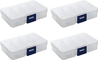 HUI JIN Lot de 4 boîtes de rangement à 8 compartiments en plastique transparent pour boucles d'oreilles et bijoux
