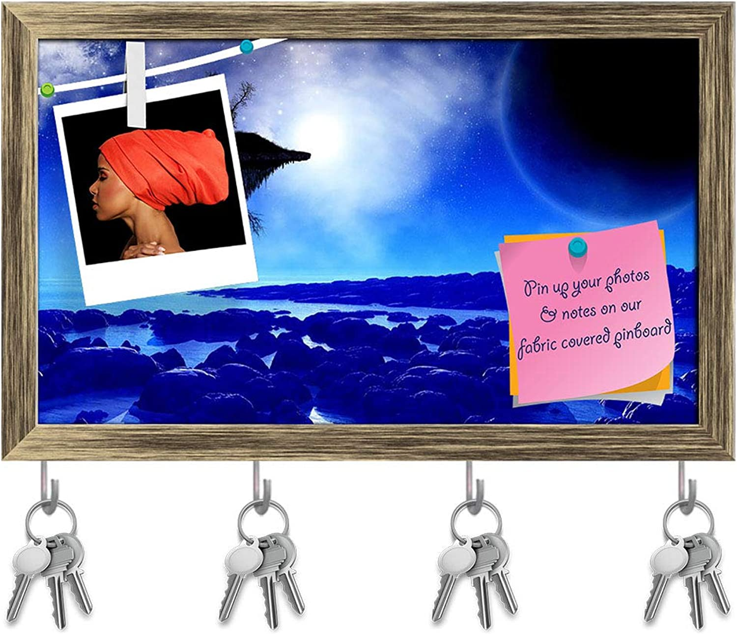 Artzfolio Fictional Space with A Floating Island Key Holder Hooks   Notice Pin Board   Antique golden Frame 19.9 X 12Inch