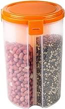 AMPLE EMPORIUM Plastic Air Tight 3 Sections Storage Container Jar for Kitchen 1pis(Transparent)