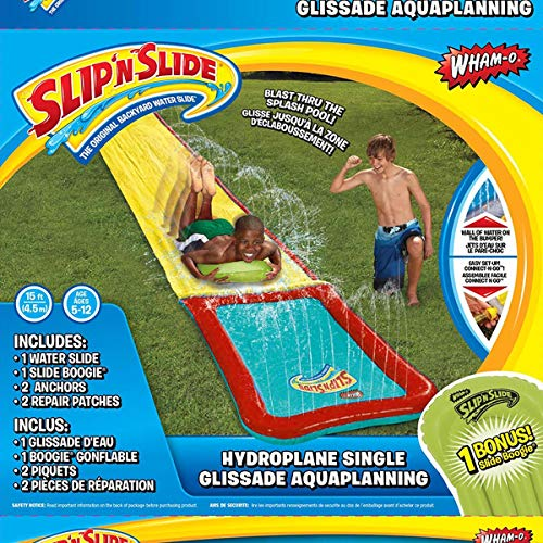 Wham-O Slip 'N Slide Hydroplane XL 18' Inflatable Waterslide Game with Large Splash Pool Zone Single Lane | Original Backyard Water Slide | Great for Outdoor Play, Kids & Adults (18 ft Long, 1 Count)