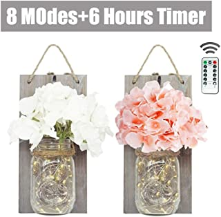 NiniTe LIGHTS 2 Pack Mason Jar Sconces Battery Operated with 30 LED Fairy String Lights, Hydrangea Flowers and Grey Vintage Wooden Board, Hanging Light Crafts for Wall Decor, Home Decor, Outdoor Decor