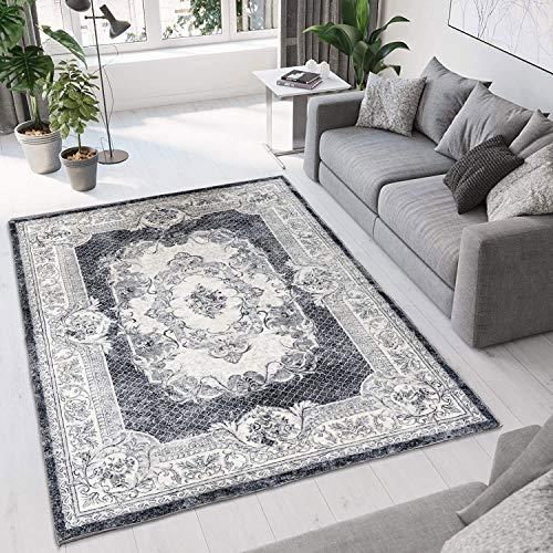 Alfombras Salon Grande Alfombra Moderna para Sala de Estar Alfombras de Salón de Diseño Moderno Pelo Corto para Salón Dormitorio(Gris Blanco, 120*160cm)