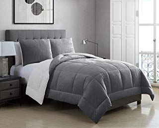 3 Piece Micromink Sherpa Silky Smooth Plush Oversized Gray Comforter Set King
