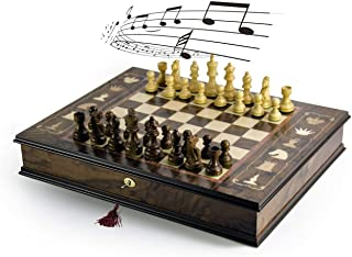 Handcrafted Italian 30 Note Musical Tabletop Chessboard in Walnut Finish - Raindrops Keep Falling On My Head