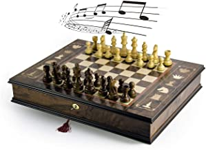 Handcrafted Italian 18 Note Musical Tabletop Chessboard in Walnut Finish - Over 400 Song Choices - Jesus Loves Me