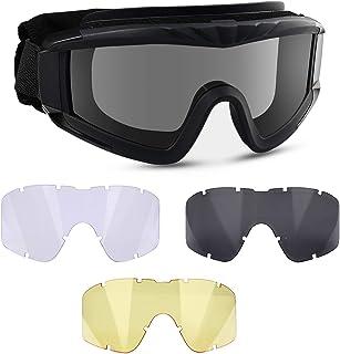 نظارات هوائية من شركة فلانتور - نظارات واقية تكتيكية للاستخدام الخارجي مضادة للضباب نظارات عسكرية مع 3 عدسات قابلة للتبديل...