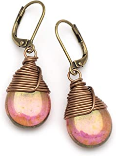 Lustrous Czech Glass Wire-wrapped Drop Bronze Lever-back Earrings 1.4 Inches