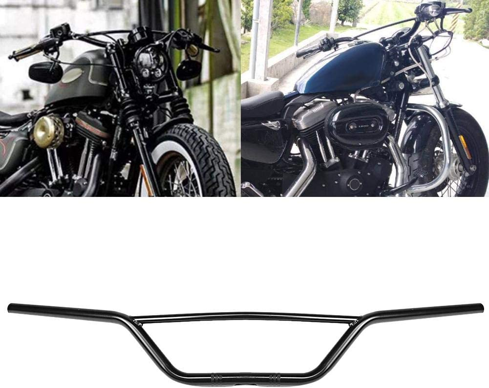 KIMISS 7//8in 22mm Manillar de la motocicleta Separaci/ón Manillares Manillares retro Arrastre para CG125 GN125 Negro mate
