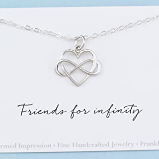 Friendship Gift • Friends for Infinity • Sterling Silver • Best Friend Jewelry • Long Distance BFF • Miss You • Heart Charm Necklace for Women