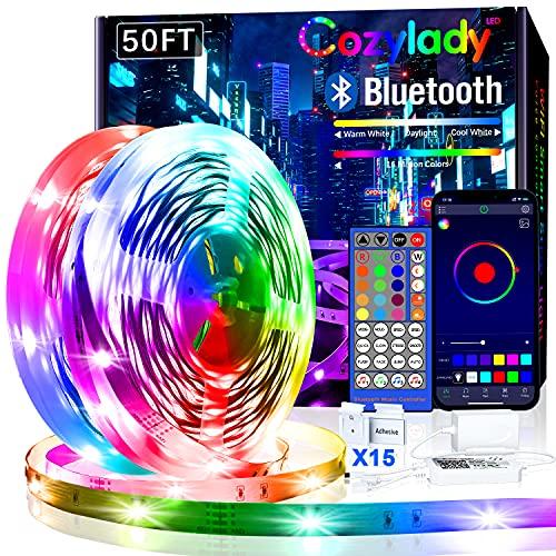Cozylady Bluetooth LED Strip 15m, Smart APP Steuerbar Musik LED Lichterkette Farbwechsel LED Streifen, 5050 RGB LED Leiste mit Netzteil und Fernbedienung