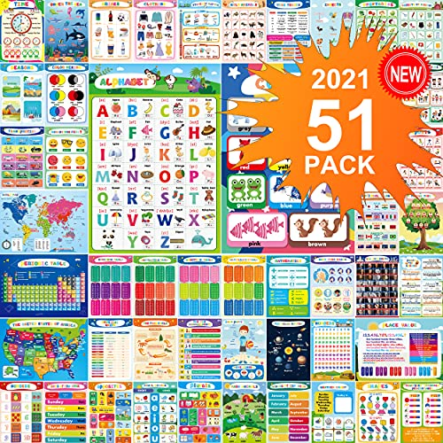 Educational Preschool Poster 51-PCS For Toddlers And Kids Posters , Nursery Homeschool, Kindergarten Classroom With 400 Glue Point Dot - Teach Numbers Alphabet Colors Days and More- Laminated - 16