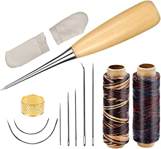 Leather Sewing Kit, 12 PCS Leather Sewing Tools with Waxed Thread, Large-Eye Stitching Needles and Awl for Leather Sewing Working Crafting Projects
