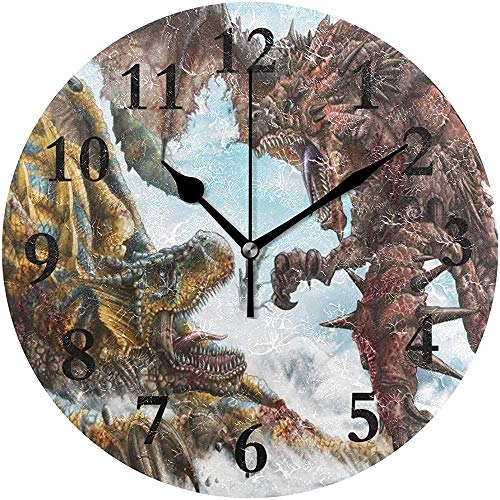Meili Shop Dinosaurier Krieg Runde Wanduhr Home Office School Dekorative Uhr Kunst