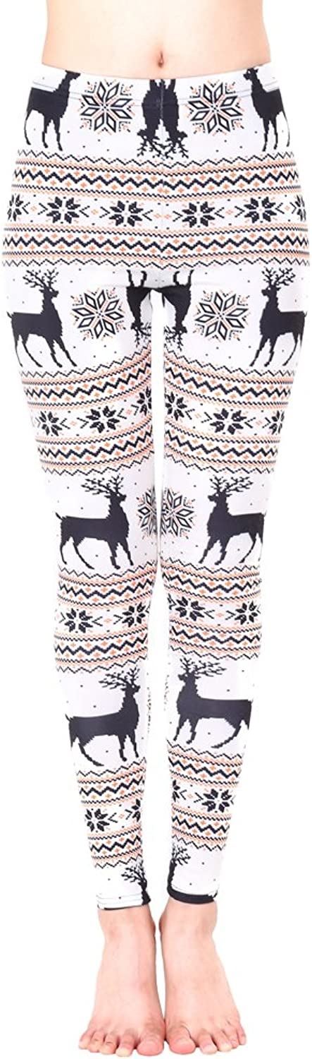 Romacci Women Christmas Leggings Snowflake Graphic Printed Stretchy Pants